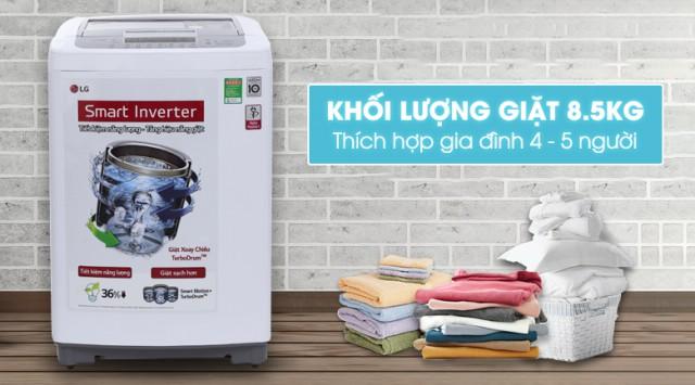 Khối lượng giặt 8.5 kg phù hợp cho gia đình đông người