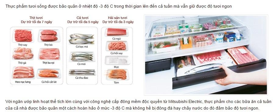 Tủ lạnh Mitsubishi MR-WX53Y-P-V 506 lít, Inverter
