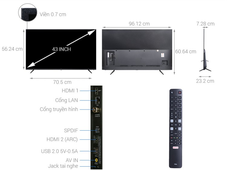 Smart Tivi TCL 4K 43 inch L43P6-UF