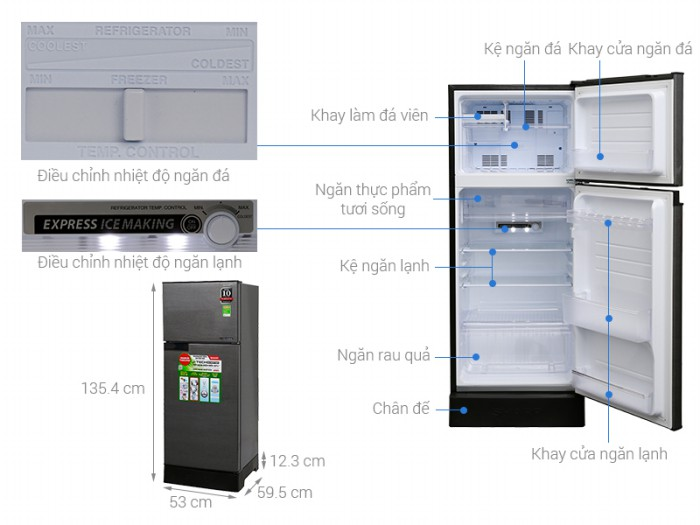 Tủ lạnh Sharp 180 lít SJ-X196E-DS