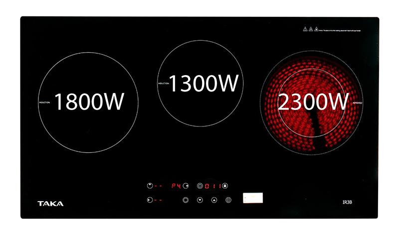 Bếp từ hồng ngoại Taka IR3B 5400W Tổng công suất 5400W