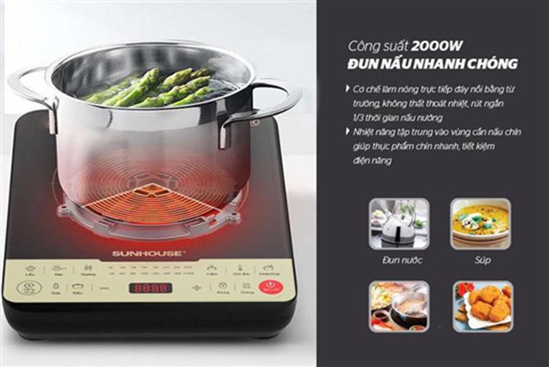 Bếp từ Sunhouse SHD6861 2000W Tỏa nhiệt đều, nấu nướng nhanh
