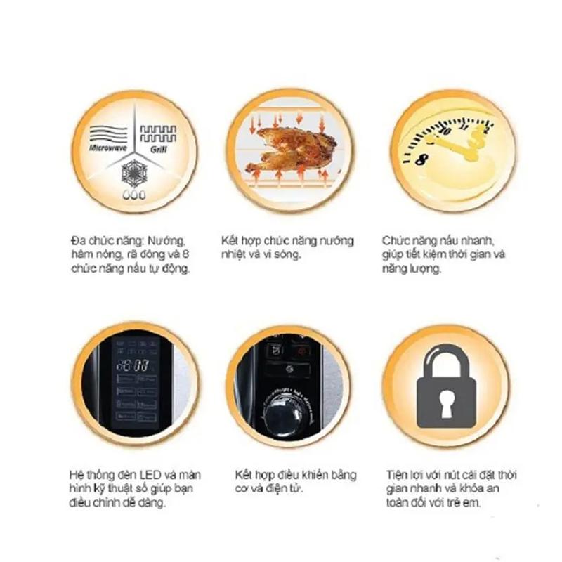Lò vi sóng BlueStone được trang bị nhiều chế độ nấu ăn khác nhau như: nấu bằng sóng vi ba, nướng, rã đông, luộc.