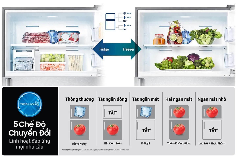 Tủ lạnh Samsung Inverter 380 lít RT38K5982DX/SV 5 chế độ chuyển đổi