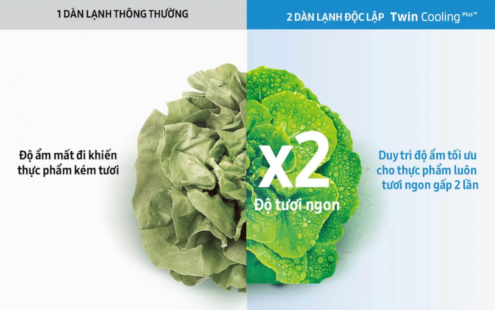 Tủ lạnh Samsung Inverter 380 lít RT38K5982DX/SV thực phẩm tươi ngon gấp đôi