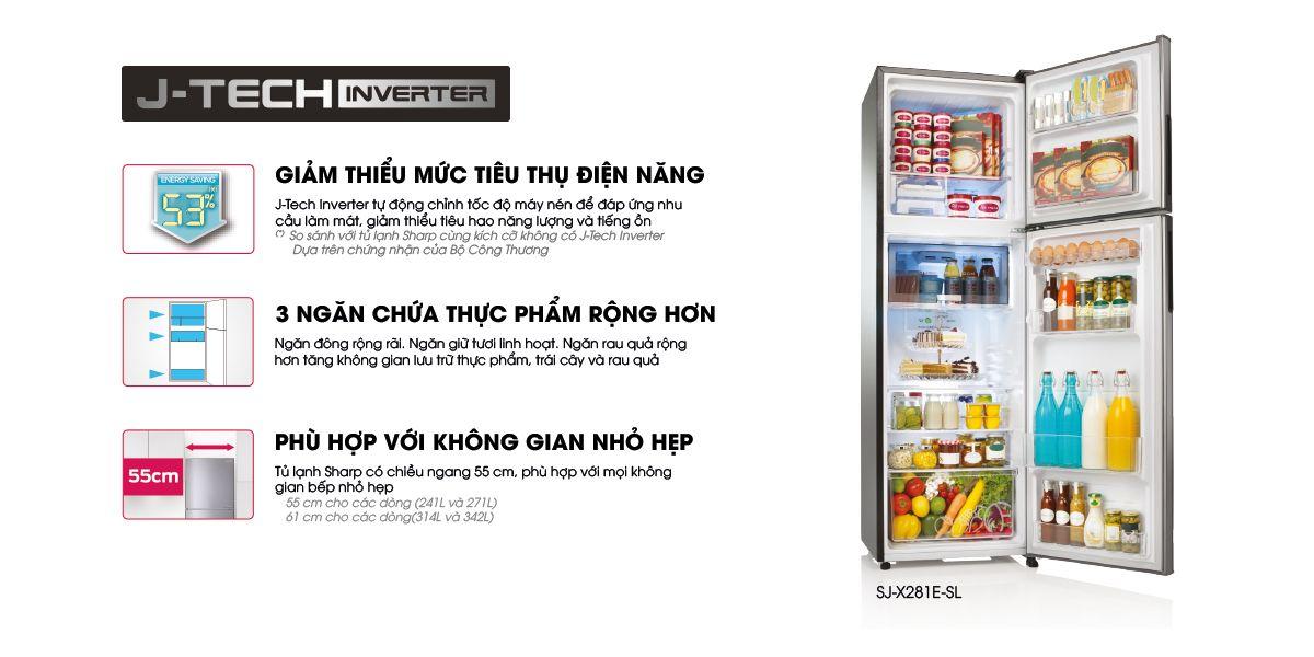 Tủ lạnh Sharp Inverter 224 lít SJ-X251E-SL vừa vặn rộng rãi