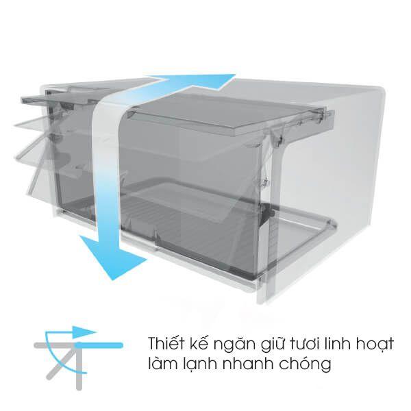 Tủ lạnh Sharp Inverter 224 lít SJ-X251E-SL ngăn giữ tươi linh hoạt
