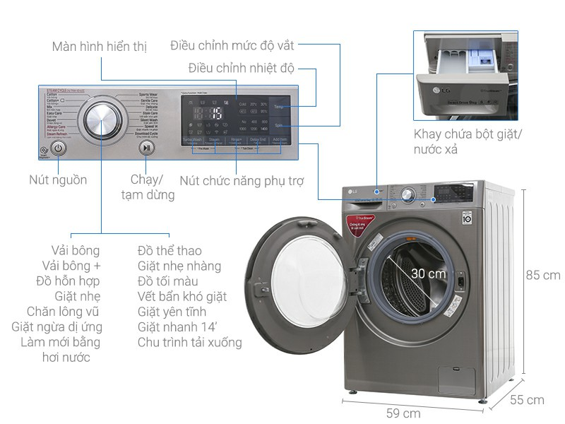 Máy giặt Inverter LG FC1409S2E