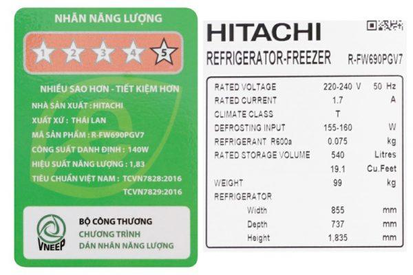 Tủ lạnh Hitachi Inverter 540 lít R-FW690PGV7