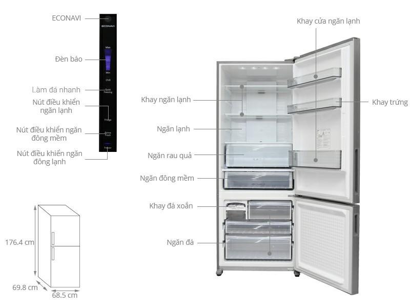 Tủ lạnh Panasonic Inverter 405 lít NR-BX468XSVN Thiết kế hiện đại và thời trang Tủ lạnh Panasonic NR-BX468XSVN 405 lít thu hút với thiết kế mặt phẳng hiện đại hợp thời trang mang đến nét đẹp hài hòa và sang trọng. Thiết kế phần ngăn đá dưới giúp cho bạn thuận tiện cất hoặc lấy thực phẩm từ ngăn lạnh ra mà không cần phải khom người xuống. Tủ lạnh Panasonic Inverter 405 lít NR-BX468XSVN Dung tích 405 lít phù hợp cho những gia đình có 4 - 5 người. Dung tích lớn - Tủ lạnh Panasonic Inverter 405 lít NR-BX468XSVN Tủ lạnh Inverter tiết kiệm điện tối đa Tủ lạnh Panasonic sẽ giúp bạn tiết kiệm năng lượng tối đa nhờ các công nghệ tiên tiến được ứng dụng trên tủ lạnh như: + Công nghệ Inverter: Sử dụng máy nén biến tần Inverter thế hệ mới với nhiều cải biến giúp máy nén có khả năng thay đổi tốc độ quay phù hợp với từng điều kiện cụ thể, nhờ đó giúp hiệu suất làm lạnh tốt hơn và tiết kiệm năng lượng tiêu thụ một cách hiệu quả. Tiết kiệm năng lượng tối đa - Tủ lạnh Panasonic Inverter 405 lít NR-BX468XSVN + Cảm biến Econavi: Với 4 loại cảm biến như cảm biến ánh sáng, cảm biến nhiệt độ bên trong, cảm biến nhiệt độ bên ngoài, cảm biến tần suất mở/đóng cửa, nhờ đó giúp lựa chọn ra nhiệt độ phù hợp với từng điều kiện cụ thể và tiết kiệm điện năng tốt hơn. Tiết kiệm điện Econavi - Tủ lạnh Panasonic Inverter 405 lít NR-BX468XSVN Hệ thống làm lạnh Panorama giúp làm lạnh nhanh và đều Tủ lạnh Panasonic 405 lít NR-BX468XSVN được Panasonic trang bị hệ thống làm lạnh Panorama tiên tiến giúp cho thực phẩm bảo quản vẫn giữ được chất lượng tốt nhất bằng cách thổi luồng khí lạnh nhanh và đồng đều đến tận các ngóc ngách trong ngăn đông. Hệ thống làm lạnh Panorama giúp làm lạnh nhanh và đều - Tủ lạnh Panasonic Inverter 405 lít NR-BX468XSVN Công nghệ kháng khuẩn Ag Clean tiên tiến Công nghệ diệt khuẩn và khử mùi Ag Clean trên tủ lạnh Panasonic inverter với hoạt động của các ion Ag+ có khả năng kháng khuẩn, ngăn cản sự phát sinh của các vi khuẩn mới từ thực phẩm, có thể tiêu diệt đến 99% nấm mốc và c