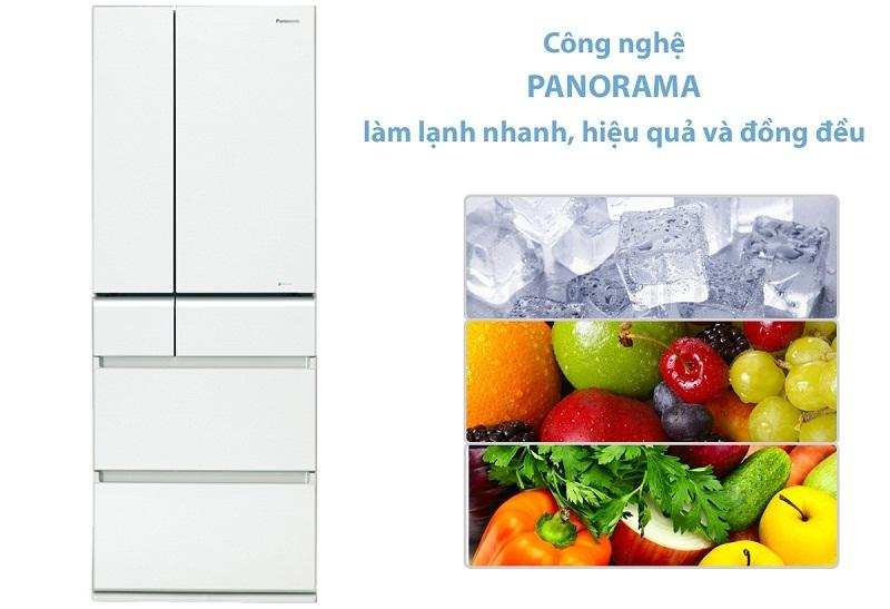 Tủ lạnh Panasonic Inverter 489 lít NR-F510GT-W2 làm lạnh panorama