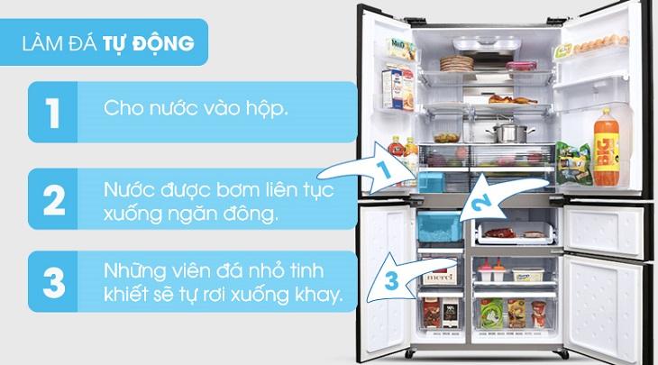 Cách sử dụng chức năng làm đá tự động trên tủ lạnh Sharp 2