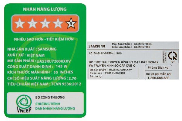 Smart Tivi Samsung UA55RU7200 4K 55 inch