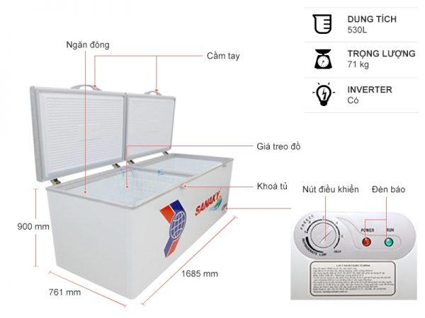 Tủ đông Sanaky VH-6699HY3 Inverter 530 Lít 6