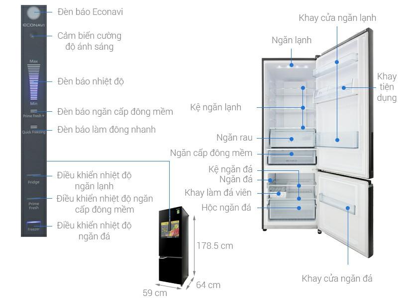Tủ lạnh Panasonic NR-BV368GKV2 Inverter 322 lít 0