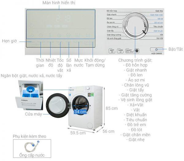 Máy giặt AQUA AQD-D850E W Inverter 8.5 kg 9