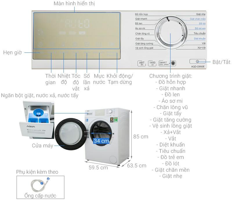 Máy giặt AQUA AQD-D950E.W Inverter 9.5 kg 1