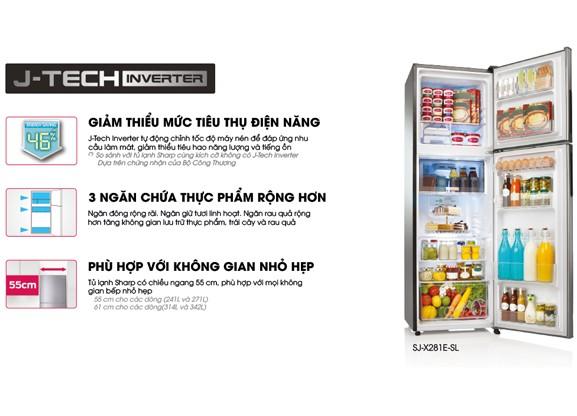 Tủ lạnh Sharp SJ-X251E-DS Inverter 224 lít 1