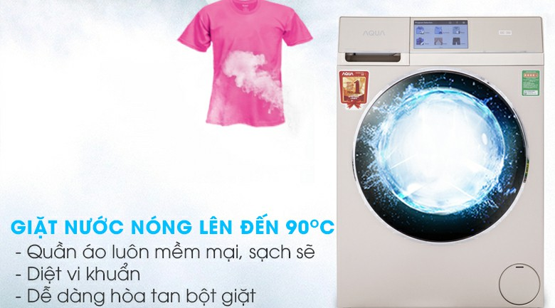 Máy giặt sấy AQUA AQD-D1000HT Inverter 10kg 6