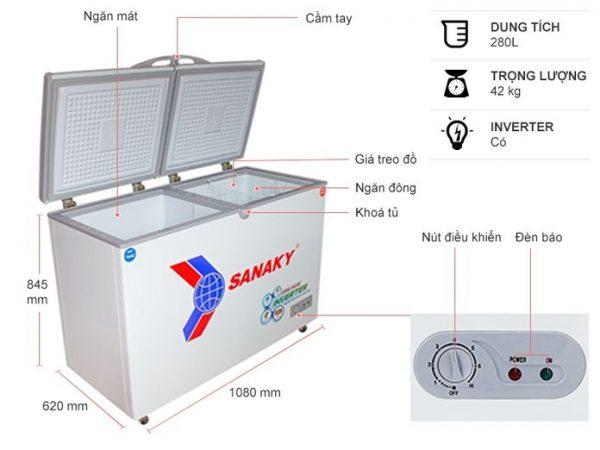 Tủ đông Sanaky VH-22899W4K Inverter 280 lít 5