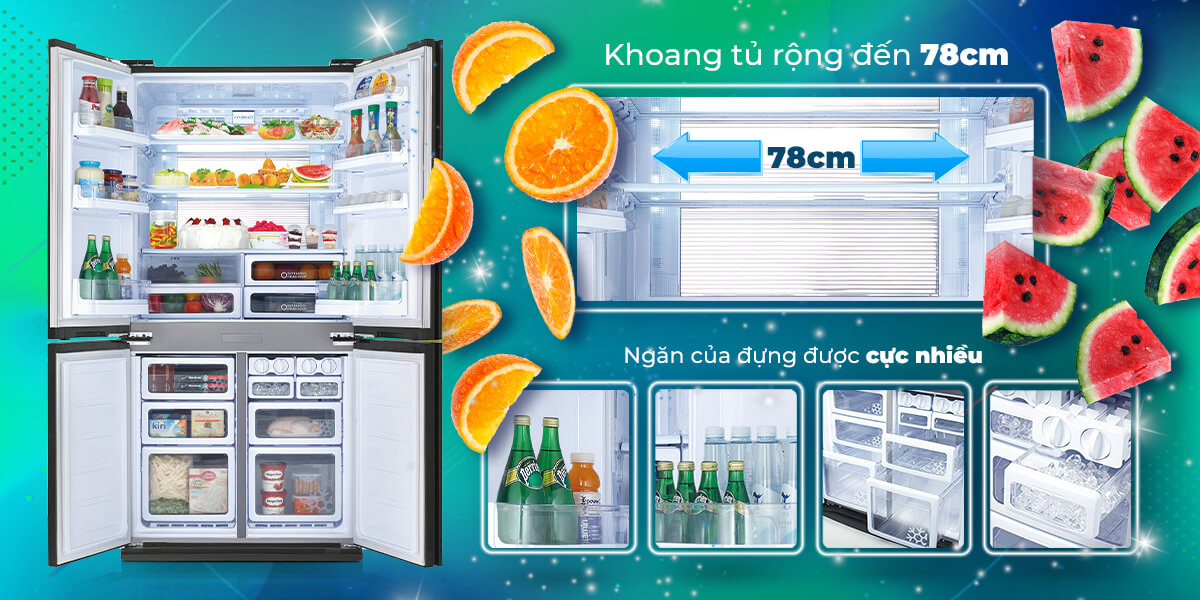 Tủ lạnh Sharp Inverter 556 lít SJ-FX630V-ST thiết kế sáng tạo