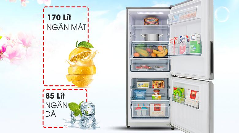 Tủ lạnh Panasonic Inverter 255 lít NR-BV280QSVN dung tích sử dụng lớn