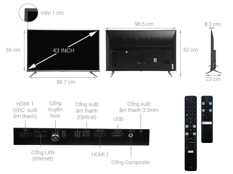 Android Tivi TCL 4K L43A8 43 inch 6