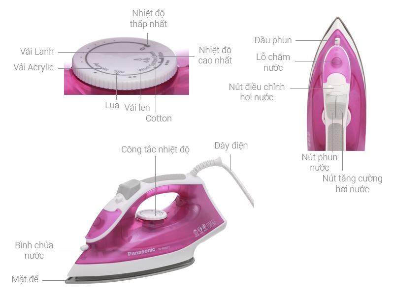 Bàn ủi hơi nước Panasonic NI-M250TPRA thiết kế hiện đại