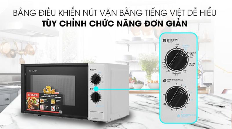 Điều khiển núm vặntiếng Việt chi tiết cho người dùng thao tác điều chỉnh các chức năng, mức công suất chính xác, dễ dàng