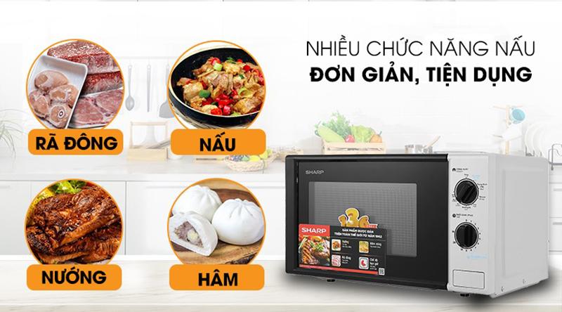 Sản phẩm đa chức năng:nấu, hâm nóng,rã đông,nướngđáp ứng tốt nhu cầu sử dụng của mọi nhà