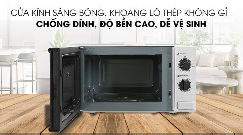 Lò vi sóng có nướngvới khoang lò bằng thép không gỉ nấu nướng thực phẩm an toàn, dễlau chùiđảm bảo vệ sinh