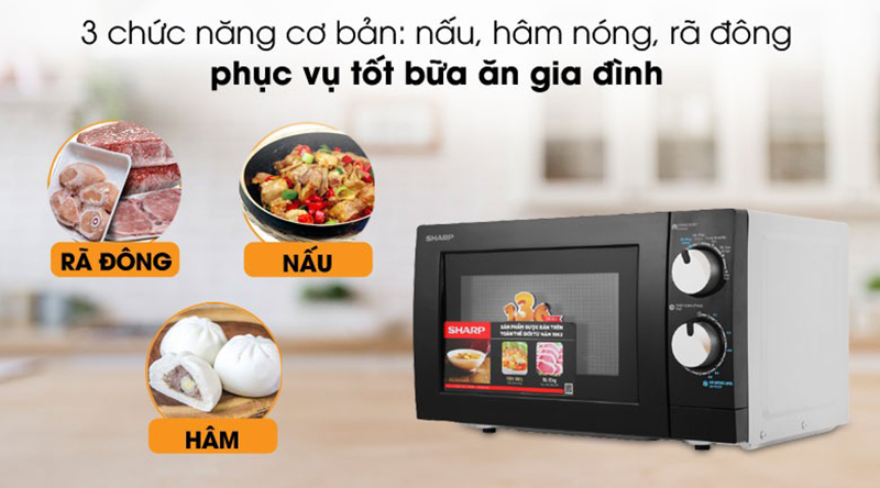 3 chế độ nấu cơ bảnnấu, hâm nóng,rã đôngvới công suất tối đa đến 700W nấu ăn nhanh chóng