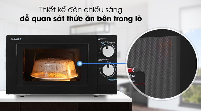 Thiết kế khoang lò có đèn tiện theo dõi quá trình nấu ăn trong lò, không cần mở cửa lò, bảo toàn nhiệt cho quá trình nấu