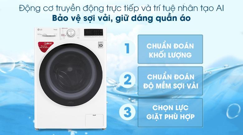 Máy giặt LG Inverter 8.5 kg FV1408S4W công nghệ AI