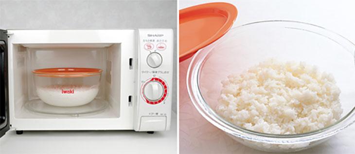 Nấu cơm trắng dẻo bằng lò vi sóng